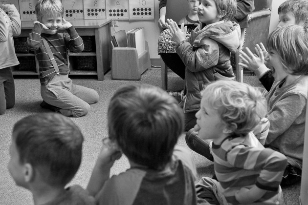 On Vashon Island, WA kindergartners at Chautauqua Elementary School participate in the SOLE program.  (SOLE stands for respect for  Self, Others, Learning and the Environment.) In this class the SOLE Specialist, Yvette Butler, is talking to the children about learning how to read the expressions of others and lerning how to cope with one's own emotions.